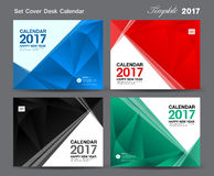 Set Cover Desk Calendar 2017 year template design, cover design. Cover calendar 2017, Business flyer design, polygon background Stock Photos