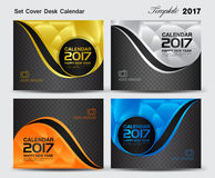 Set Cover Desk Calendar 2017 year template design, cover design. Cover calendar 2017, business flyer template vector Royalty Free Stock Images