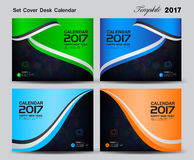 Set Cover Desk Calendar 2017 year template design, cover design,. Cover calendar 2017, corporate flyer design Stock Image