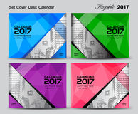 Set Cover Desk Calendar 2017 year template design, cover design. Cover calendar 2017, corporate flyer design, polygon background Royalty Free Stock Photography
