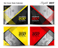 Set Cover Desk Calendar 2017 year template design, cover design,. Cover calendar 2017, flyer design, polygon background Stock Photos