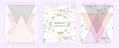 Set cover geometric designs with marble texture, gold lines, triangles, pastel pink, grey colors background. Trendy template for i. Nvitation, card, banner stock illustration