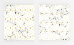 Set cover white marble texture with gold line pattern. Background for designs, banner, card, flyer, invitation, party, birthday, w. Edding, placard royalty free illustration