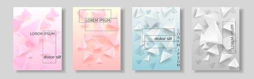 Set of covers with abstract background with geometric elements. Vector illustration Stock Illustration