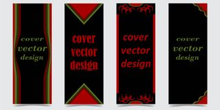 Set of covers with abstract shapes on black background vector illustration