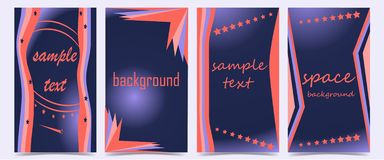 Set of covers with abstract shapes on dark blue background stock illustration