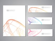 Set of covers and banners. Future geometric design. Abstract 3d wheel. Line design, wire element. Eps10. Illustration Stock Images