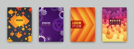 Set of 4 covers with flat geometric pattern. Can be use for flyers, posters, banners, etc Royalty Free Stock Image
