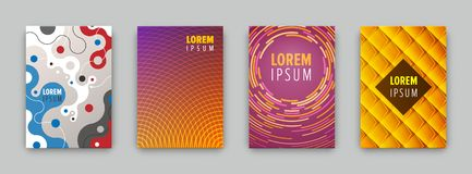 Set of 4 covers with flat geometric pattern. Can be use for flyers, posters, banners, etc Stock Photo