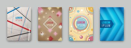 Set of 4 covers with flat geometric pattern. Can be use for flyers, posters, banners, etc. Vector illustration Royalty Free Stock Photo
