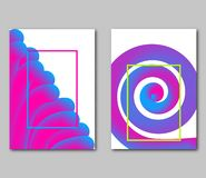 Set covers with futuristic shape on white background. Trendy dynamic 3d forms. Vector illustration stock illustration