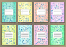 Set Covers with hand drawn ink school doodles Stock Images