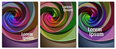 Set of 3 covers with original abstract multi-color spiral design vector illustration