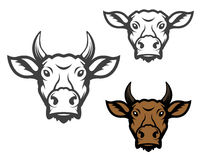 Set of cow heads. Royalty Free Stock Images