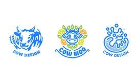 Set of cow logos. royalty free illustration