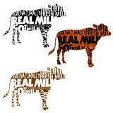 Set of cow silhouettes with words in shape. Set of cow silhouettes with random words and phrases in shape. Real and natural milk vector illustration