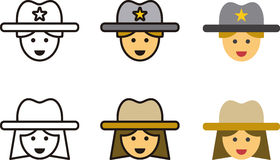 Set of Cowboy and Cowgirl Icons Royalty Free Stock Photos