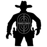 Set cowboy duel target vector, insulated circuit silhouette training. Royalty Free Stock Photo