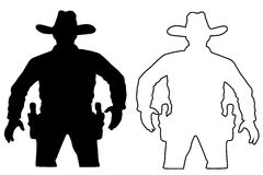 Set cowboy duel target vector, insulated circuit silhouette training. Royalty Free Stock Photos