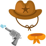 Set of cowboy hat, gun and scarf Royalty Free Stock Images