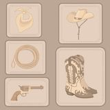 Set of cowboy items Royalty Free Stock Images