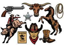 Set of cowboy objects. Vector of set of cowboy objects Royalty Free Stock Photos