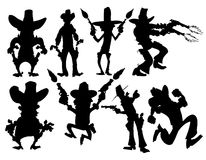 Set of cowboy silhouettes Stock Images