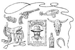 Set of cowboys. Western icons, Texas Rangers. Wild West. Portrait of a criminal man, sheriff and saddle, skull of a bull vector illustration
