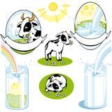 Set of cows. milk Royalty Free Stock Photos
