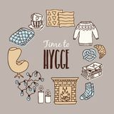 Set of cozy hygge elements, home interior details. Hand drawn vector illustration.Greeting card template Royalty Free Stock Images