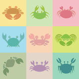 Set of  crab icons Royalty Free Stock Photo