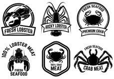 Set of crab meat, lobster meat label. Design element for logo, emblem, sign, poster, banner. Vector illustration Stock Image