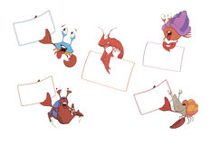 Set of crabs with the empty forms cartoon Stock Photos
