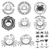 Set of crabs labels. Fresh seafood. Royalty Free Stock Photos