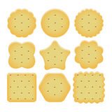 Set of cracker chips. vector. Set of cracker chips isolated on white background. baked and salted cheese cracker chips of different shapes. vector Stock Photos