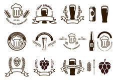 Set of  craft beer emblems and logo templates. Stock Photo