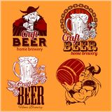 Set craft beer and vikings logo - vector illustration Stock Images