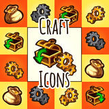 Set of craft icon, chest, gear, bag with gold Royalty Free Stock Photo