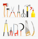 Set of craftsman and gardener tools items. Stock Images