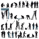 Set of craftsmen silhouettes Stock Images