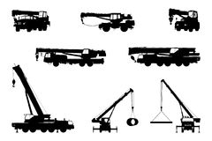 Set Crane Silhouette on a white background. Vector illustration Royalty Free Stock Photography