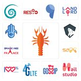 Set of crawfish, nail studio, gossip, 4g lte, 100 satisfaction, sax, made in france, king kong, hamsa icons. Set Of 13 simple editable icons such as crawfish Stock Photo