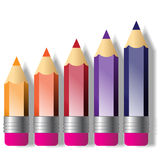 Set of crayons. The picture of set stylized color crayons stock illustration