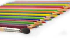 Set of crayons. On white Stock Photo