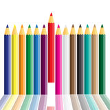 Set of crayons displayed Stock Photography