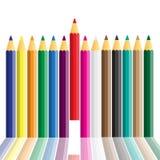 Set of crayons displayed Stock Photography