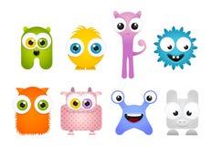 Set of Crazy Cartoon Mascot Monsters Royalty Free Stock Photos
