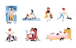 Set of crazy cat lady performing her daily activities being surrounded by pets - sleeping, doing yoga, drinking coffee stock illustration