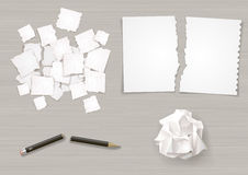 Set creasy paper sheets. Set of different crumpled and torn sheets of paper. Broken pencil. Vector graphics Royalty Free Stock Images
