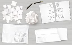 Set creasy paper sheets. Set of different crumpled and torn sheets of paper. Broken pencil. Vector graphics Royalty Free Stock Photo